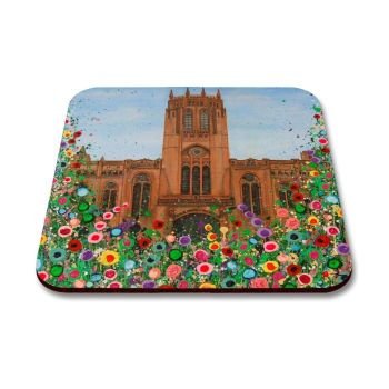 Jo Gough - Liverpool Anglican Cathedral with flowers Coaster