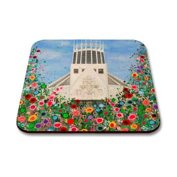 Jo Gough - Liverpool Metropolitan Cathedral with flowers Coaster