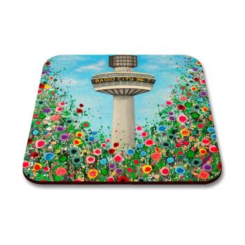Jo Gough - Radio City Tower Liverpool with flowers Coaster