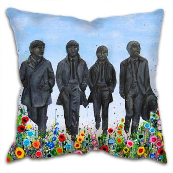 Jo Gough - The Beatles Statues with flowers Cushion