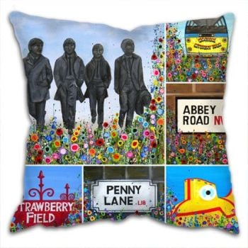 Jo Gough - Beatles Montage with flowers Cushion