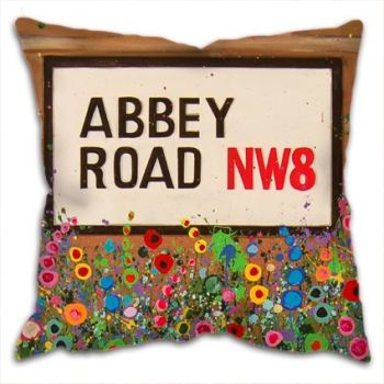 Jo Gough - The Beatles Abbey Road St Sign with flowers Cushion