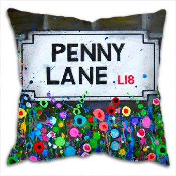 Jo Gough - The Beatles Penny Lane St Sign with flowers Cushion