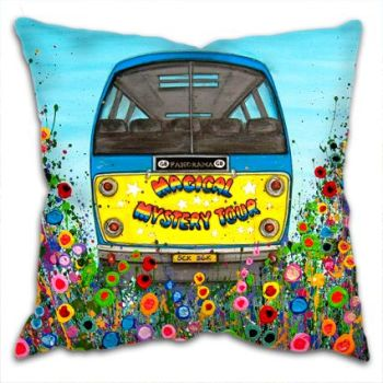 Jo Gough - The Beatles Magical Mystery Tour Bus with flowers Cushion