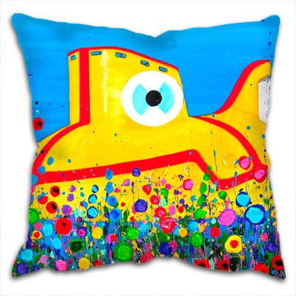 The Beatles Yellow Submarine With Flowers Cushion