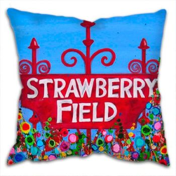 Jo Gough - The Beatles Strawberry Field Sign with flowers Cushion