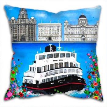 Jo Gough - The 3 Graces Liverpool with flowers Cushion