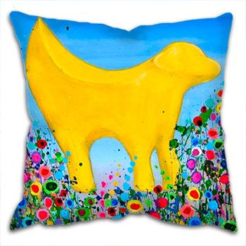 Jo Gough - Lambanana Liverpool with flowers Cushion