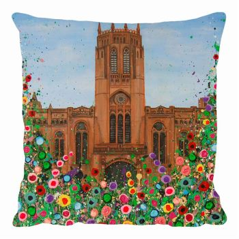 Jo Gough - Liverpool Anglican Cathedral with flowers Cushion