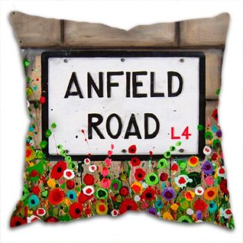 Jo Gough - LFC Anfield Rd Sign with flowers Cushion