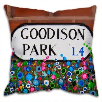Jo Gough - EFC Goodison Park Sign with flowers Cushion
