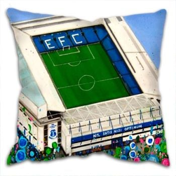 Jo Gough - EFC Stadium with flowers Cushion