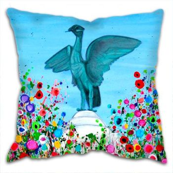 Jo Gough - Liverbird Liverpool with flowers Cushion