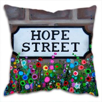 Jo Gough - Hope St Sign Liverpool with flowers Cushion