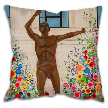 Jo Gough - Lewis's Liverpool Epstein Statue with flowers Cushion