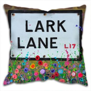 Jo Gough - Lark Lane St Sign Liverpool with flowers Cushion