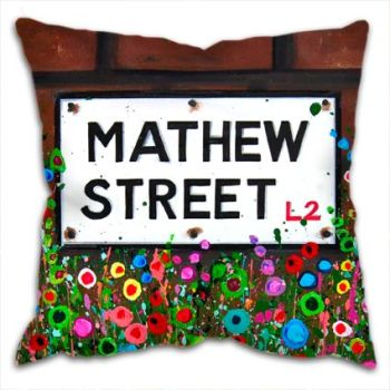 Jo Gough - Mathew St Sign Liverpool with flowers Cushion