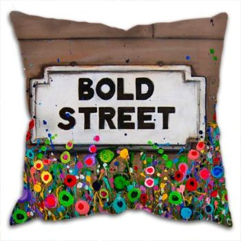 Jo Gough - Bold St Sign Liverpool with flowers Cushion