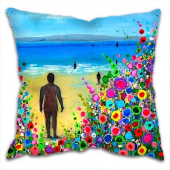 Jo Gough - Crosby Beach Iron Men with flowers Cushion