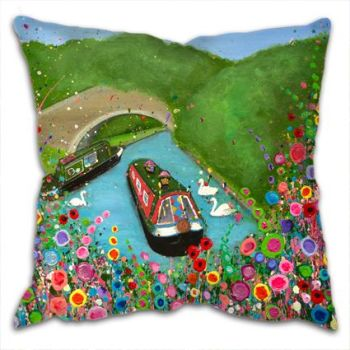 """Canal Boat"" Cushion"