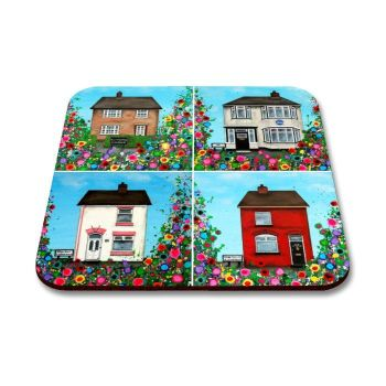 Jo Gough - The Beatles Childhood Homes with flowers Coaster