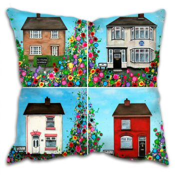 Jo Gough - The Beatles Childhood Homes with flowers Cushion