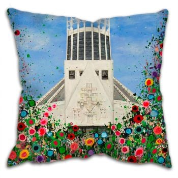 Jo Gough - Liverpool Metropolitan Cathedral with flowers Cushion