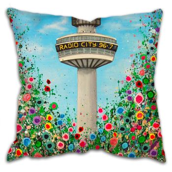 Jo Gough - Radio City Tower Liverpool with flowers Cushion