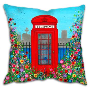 Jo Gough - Red Telephone Box with flowers Cushion