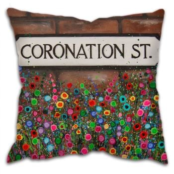 Jo Gough -  Coronation St Sign Manchester with flowers Cushion
