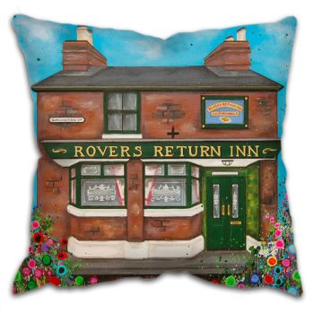 Jo Gough -  Rovers Return Pub Manchester with flowers Cushion