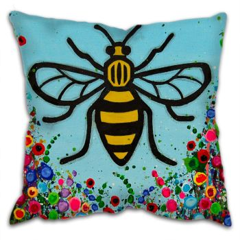 Jo Gough - Manchester Bee with flowers Cushion