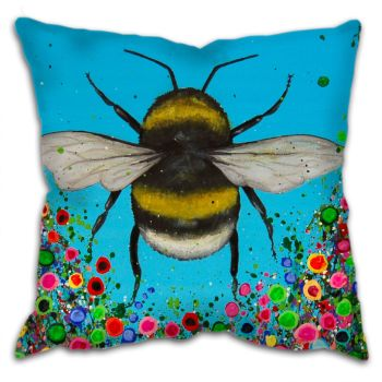 Jo Gough - Bumble Bee with flowers Cushion
