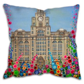 Jo Gough - Liver Building Liverpool with flowers Cushion