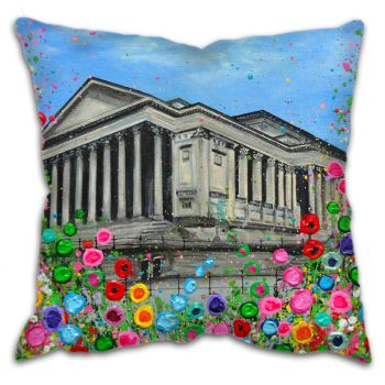 Jo Gough - St Georges Hall Liverpool with flowers Cushion
