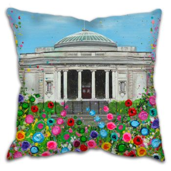 Jo Gough - Lady Lever Art Gallery with flowers Cushion