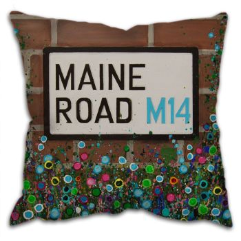 Jo Gough -  MCFC Maine Road Street Sign with flowers Cushion