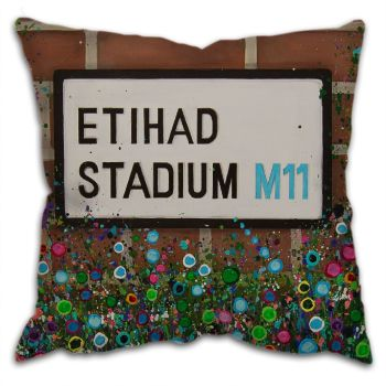 Jo Gough -  MCFC Etihad Street Sign with flowers Cushion