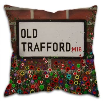 Jo Gough -  MUFC Old Trafford Street Sign with flowers Cushion