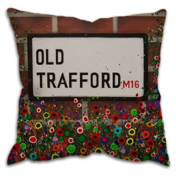 """Old Trafford Street Sign"" Cushion"