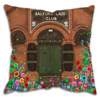 Jo Gough -  Salford Lads Club Manchester with flowers Cushion