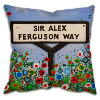 Jo Gough -  MUFC Sir Alex Ferguson Way Sign with flowers Cushion
