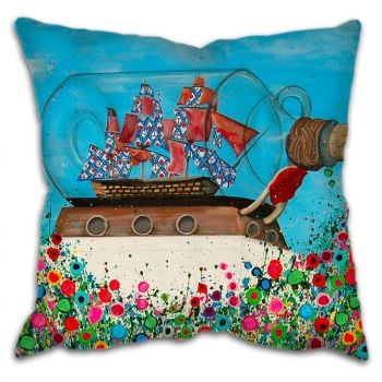 Jo Gough -  Cutty Sark Greenwich with flowers Cushion