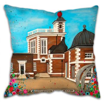 Jo Gough -  The Observatory Greenwich with flowers Cushion