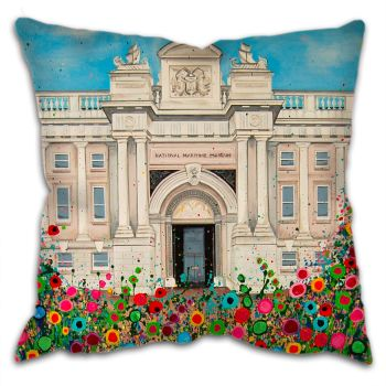 Jo Gough -  National Maritime Museum Greenwich with flowers Cushion