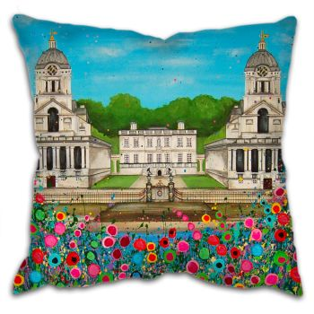 Jo Gough - Royal Naval College Greenwich with flowers Cushion