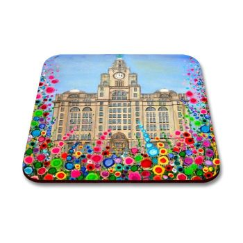Jo Gough - The Liver Building Liverpool with flowers Coaster