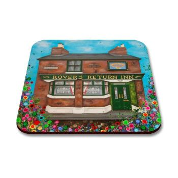 Jo Gough - Rovers Return Pub Manchester with flowers Coaster