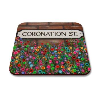Jo Gough - Coronation St Sign Manchester with flowers Coaster