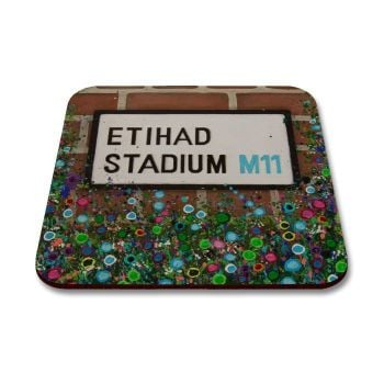 Jo Gough - MCFC Etihad St Sign with flowers Coaster